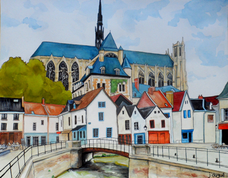 aquarelle amiens cathedrale