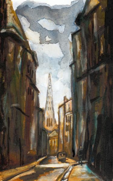 aquarelle rue du loup bordeaux