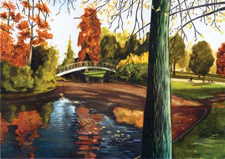 aquarelle bordeaux jardin public