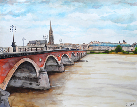 aquarelle pont de pierre bordeaux