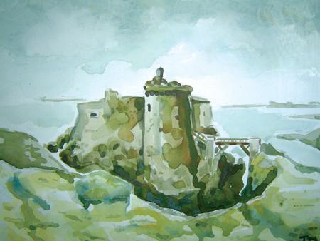 peinture fort de la meule ile d'yeu