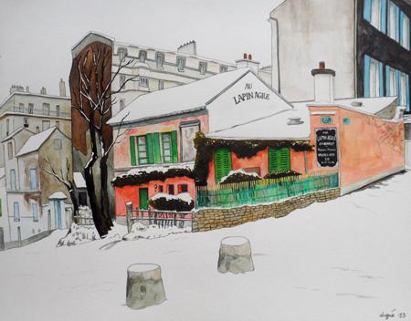 peinture lapin agile neige