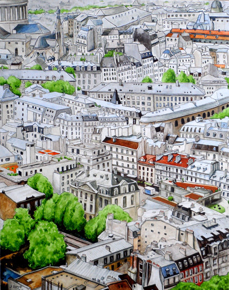 peinture pantheon toits de paris