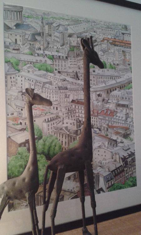 aquarelle girafes toits de paris encadrement