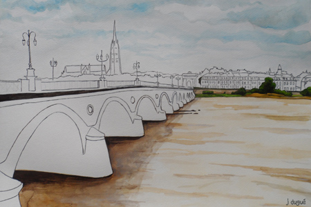 aquarelle bordeaux pont de pierre
