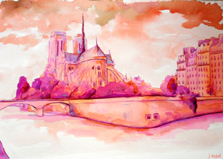 paris aquarelle rose
