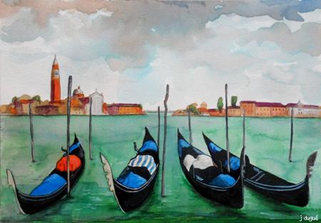 venise aquarelle gondoles