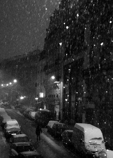paris neige rue photo